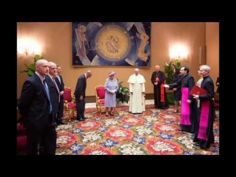 Pope Frances, Queen Elizabeth; & The Painting In The Background By Gerone W