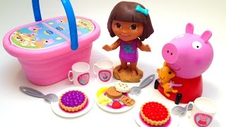 Play Doh Peppa Pig Picnic Basket Cesta de Picnic Dora The Explorer Cookie Monster Toys