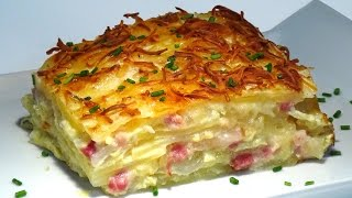 Receta Patatas al gratén con cebolla, bacon y queso Manchego - Recetas de cocina. Loli Domínguez