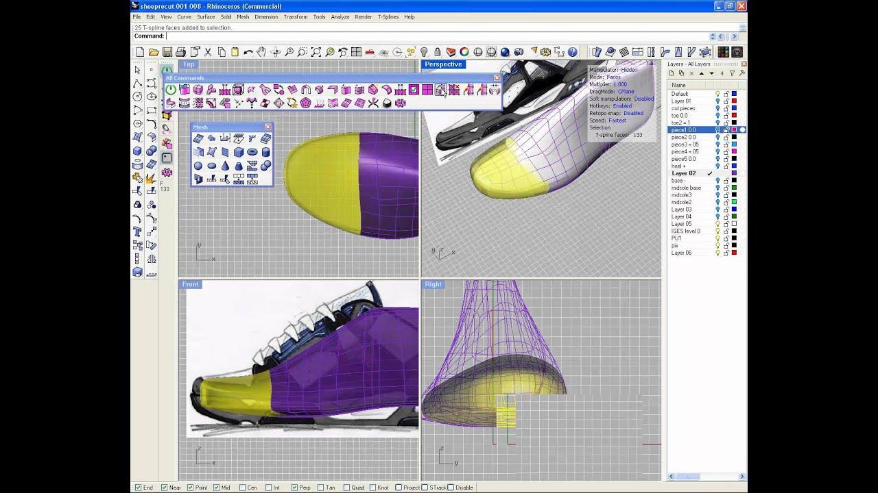 Footwear modeling with T-Splines 3.3