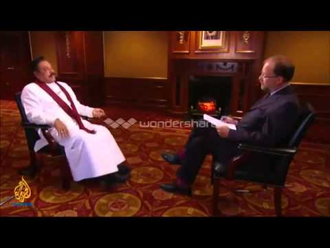 THE REAL FACE OF MAHINDA RAJAPAKSA IN FRONT OF AL JAZEERA