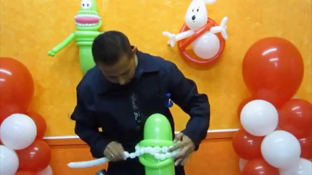 Como hacer a pegajoso cazafantasmas decoraciones con - Hacer decoraciones con globos ...