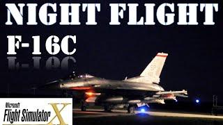FSX F-16 Night Flight Over Las Vegas - My First Flight FSX1080p