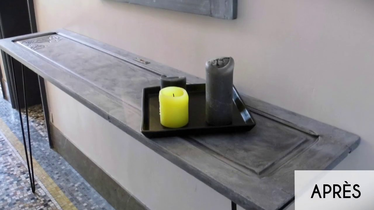 transformer une porte ancienne en console avec effet b ton youtube. Black Bedroom Furniture Sets. Home Design Ideas