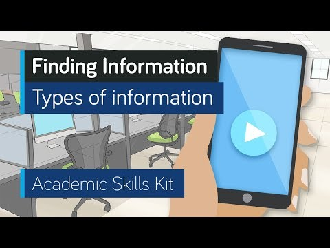 ASK Online Learning Resources 1.2: Finding Information - Types of information