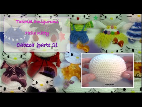 Mini Hello Kitty Amigurumi Patron : Tutorial amigurumi Hello Kitty - Cabeza 2/2 - YouTube