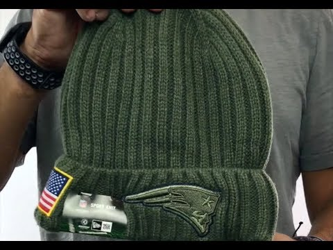 Patriots  2017 SALUTE-TO-SERVICE  Knit Beanie Hat by New Era - YouTube 6314e4a8059