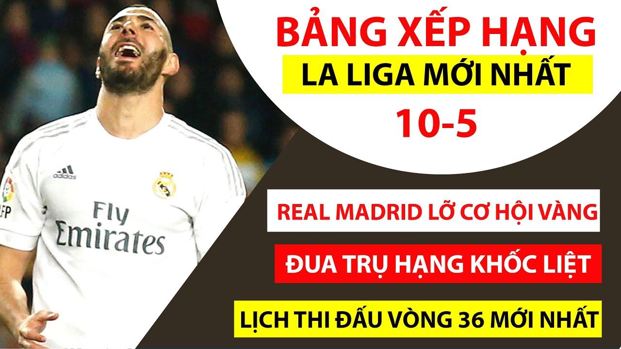Bảng xếp hạng La Liga mới nhất | Real Madrid NÉM ĐI CƠ HỘI VÀNG | Lịch thi đấu vòng 36
