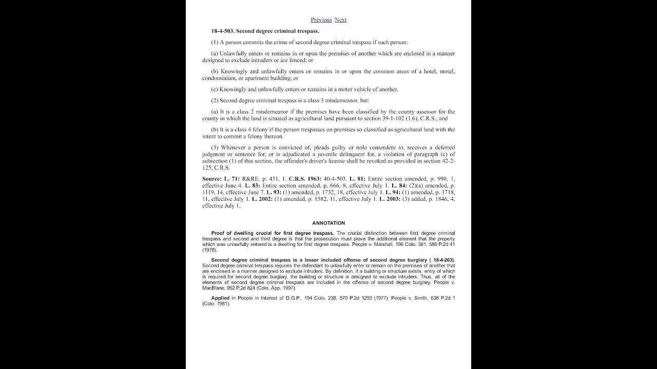 Colorado Revised Statutes And Colorado Jury Instructions For Second