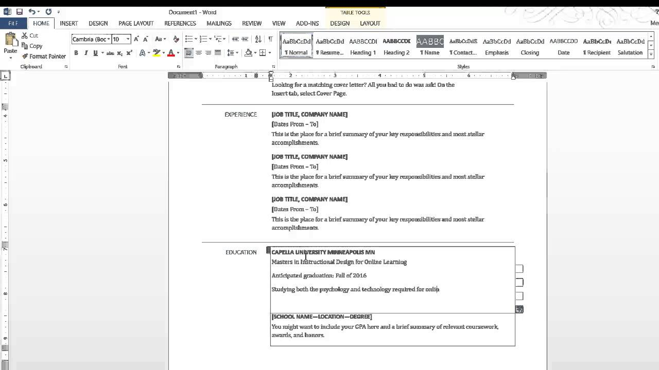 Creating a resume in word 2013 youtube creating a resume in word 2013 meri engel yelopaper Images