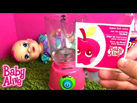 Thumbnail: Baby Alive Sips N Cuddles Doll Arial Drinks Apple Juice from Old Super Refill Pack