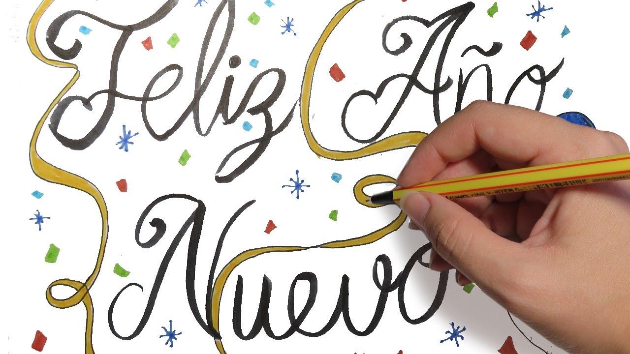 Como Dibujar Feliz Año Nuevo Con Letras Bonitas Dibujos De Navidad