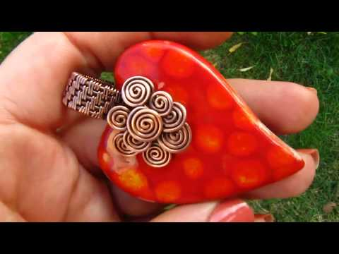Copper Wire Wrapped Ceramic Heart Pendant by DeeArtist, 2017