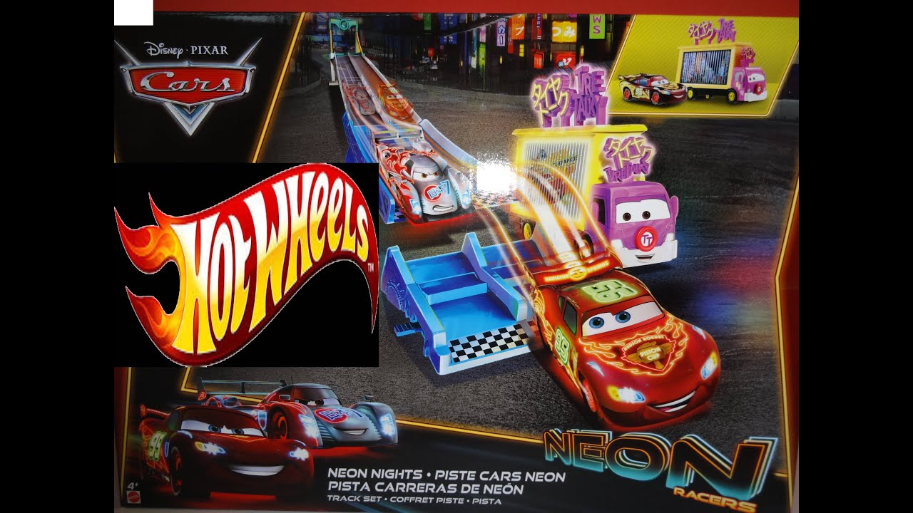 Disney Cars Cars2 Vs Hot Wheels Track Race Set Neon Racers Toy Review Unboxing Many