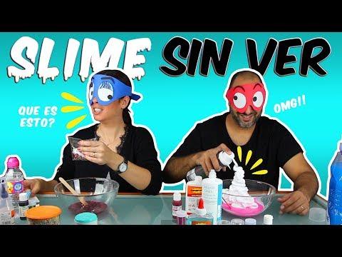 SLIME SIN VER CHALLENGE!!! MAKING SLIME BLINDFOLDED!! Momentos Divertidos