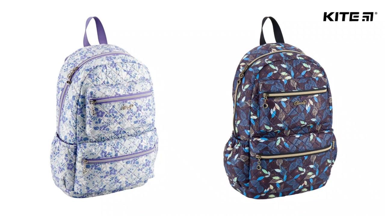 67a9f6b376ec Городской подростковый рюкзак для девочек Kite Beauty K18-884L-2 (серый в  цветочек) - школьные повседневные рюкзаки кайт 2018 для подростков купить в  Киеве, ...
