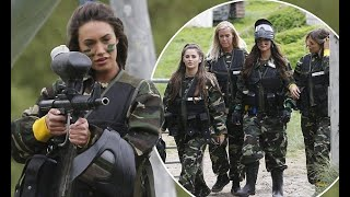 TOWIE's Clelia Theodorou joins her co-stars for paintball battle