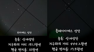 천체망원경으로 관측한 아름다운 밤하늘의 별,성단