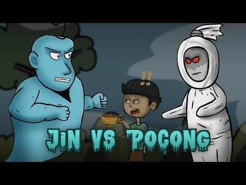 Genie vs Pocong (Dead man ghost)  - Funny ghost Cartoon stories animated | Rizky Riplay