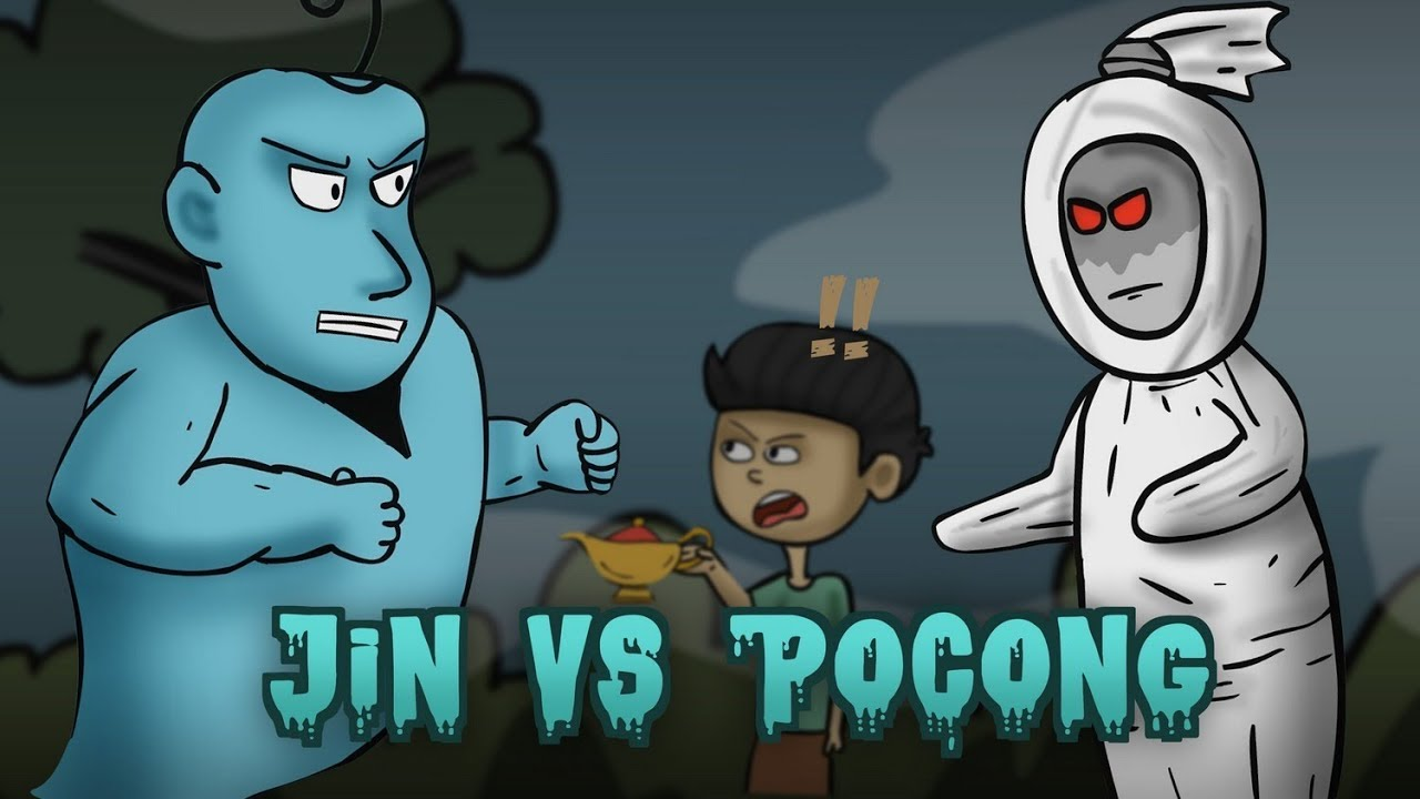Genie Vs Pocong Dead Man Ghost Funny Ghost Cartoon Stories Animated