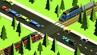 Cars & Trains - Train Videos for Children | Railroad Crossing Local Train - Game Cartoon for KIDS