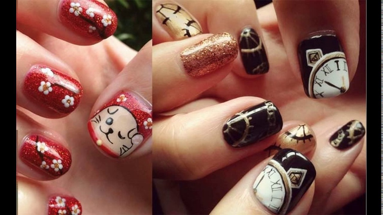 2016 chinese new year nail art design - YouTube