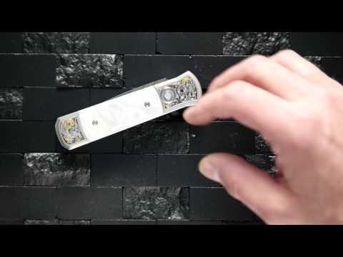 Protech Godson Automatic Knife Bruce Shaw Engraving Damascus Blade
