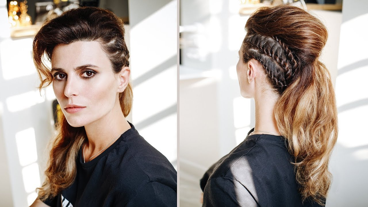 Long hair faux hawk tutorial with braids