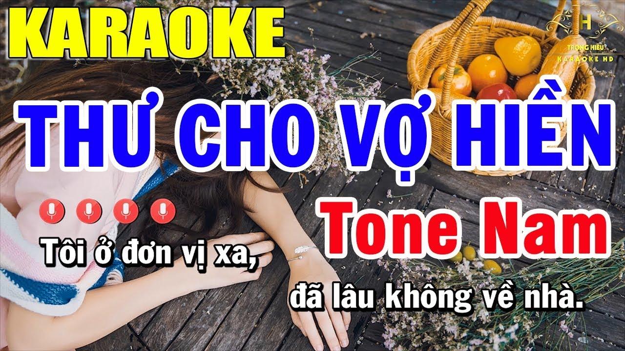 Karaoke Thư Cho Vợ Hiền Tone Nam Nhạc Sống | Trọng Hiếu