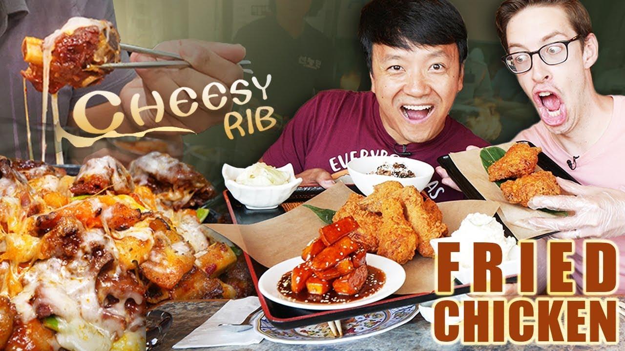 GIANT Korean CHEESE RIBS & BEST Japanese FRIED CHICKEN in Los Angeles (ft. Keith, Try Guys)