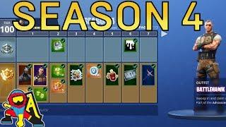 Fortnite Season 4 | ALL BATTLE PASS SEASON 4 SKINS, BACK BLING, EMOTES AND SPRAYS!