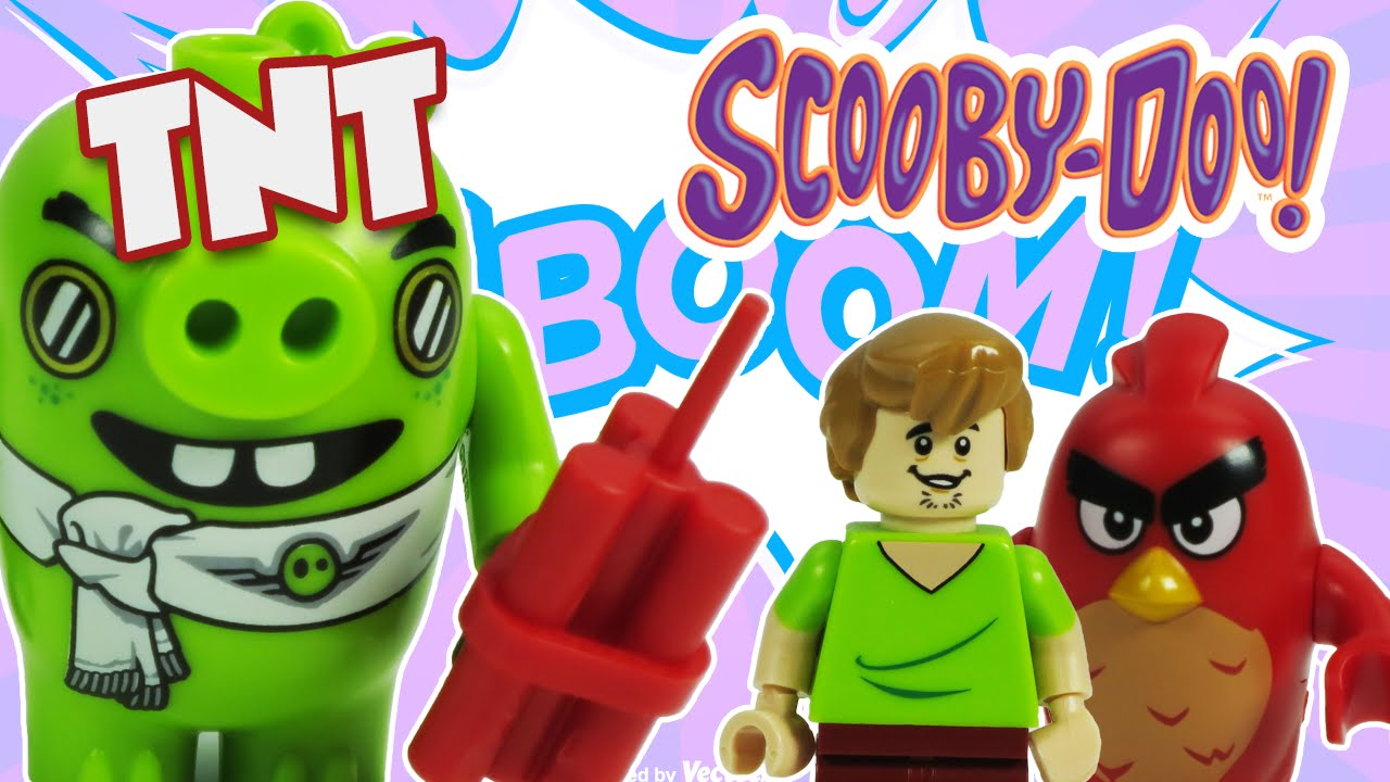 SCOOBY DOO LEGO Toys And ANGRY BIRDS Movie Lego Battle Bad Piggies Plane Explodes A Toy Parody