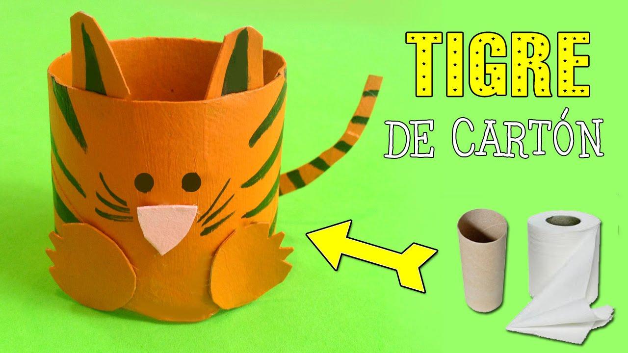 Tigre de cartn Reciclaje de tubos de papel YouTube