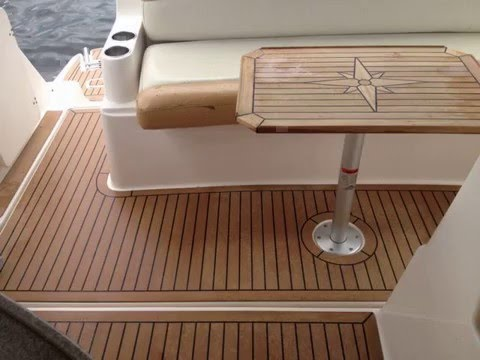boat interior Synthetic teak flooring - YouTube