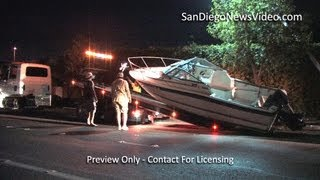 Boat Falls Off Trailer, Takes Out Light, Trees, Santee