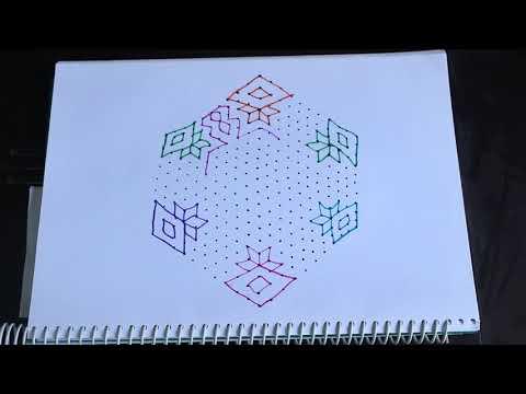 21x11 Dots Flowers Muggulu | Rangoli Designs | Kolam Designs By Suchi Planet