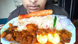 ASMR: EATING SPICY MUTTON CURRY, EGG MASALA WITH RICE *Eating Show*