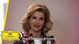 Anne-Sophie Mutters wishing a Happy Birthday to Krzysztof Penderecki