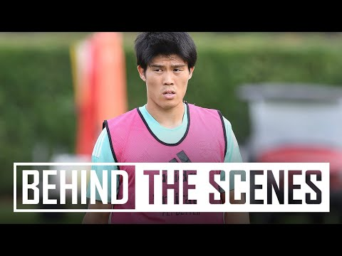 Takehiro Tomiyasu's first training session |  Behind the scenes at the Arsenal training center