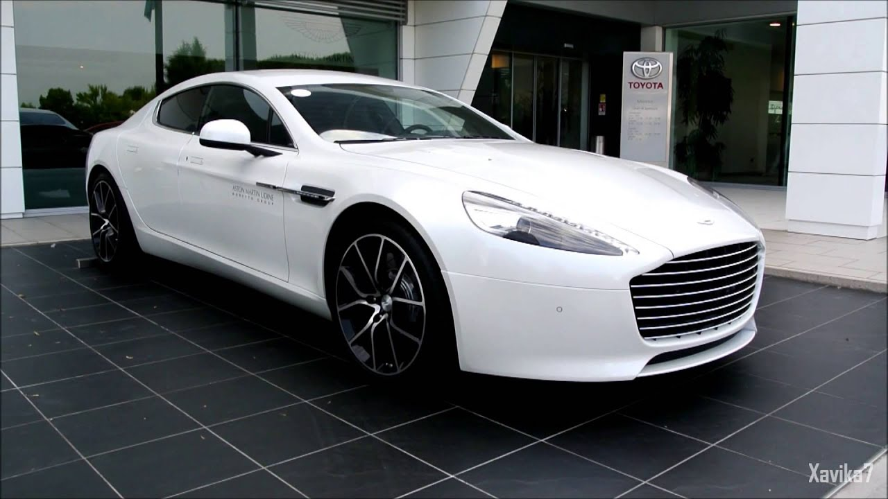 pearl white aston martin rapide s | loud start-up - accelerations