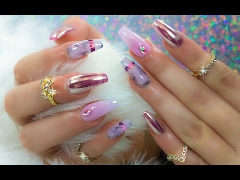 Chrome marble and ombre in one set of nails youtube for Decoracion de unas espejo 2017