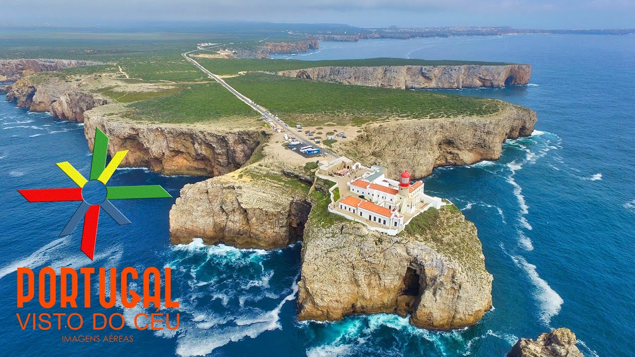 farol do cabo de s o vicente st vincent cape lighthouse aerial view algarve 4k ultra hd. Black Bedroom Furniture Sets. Home Design Ideas