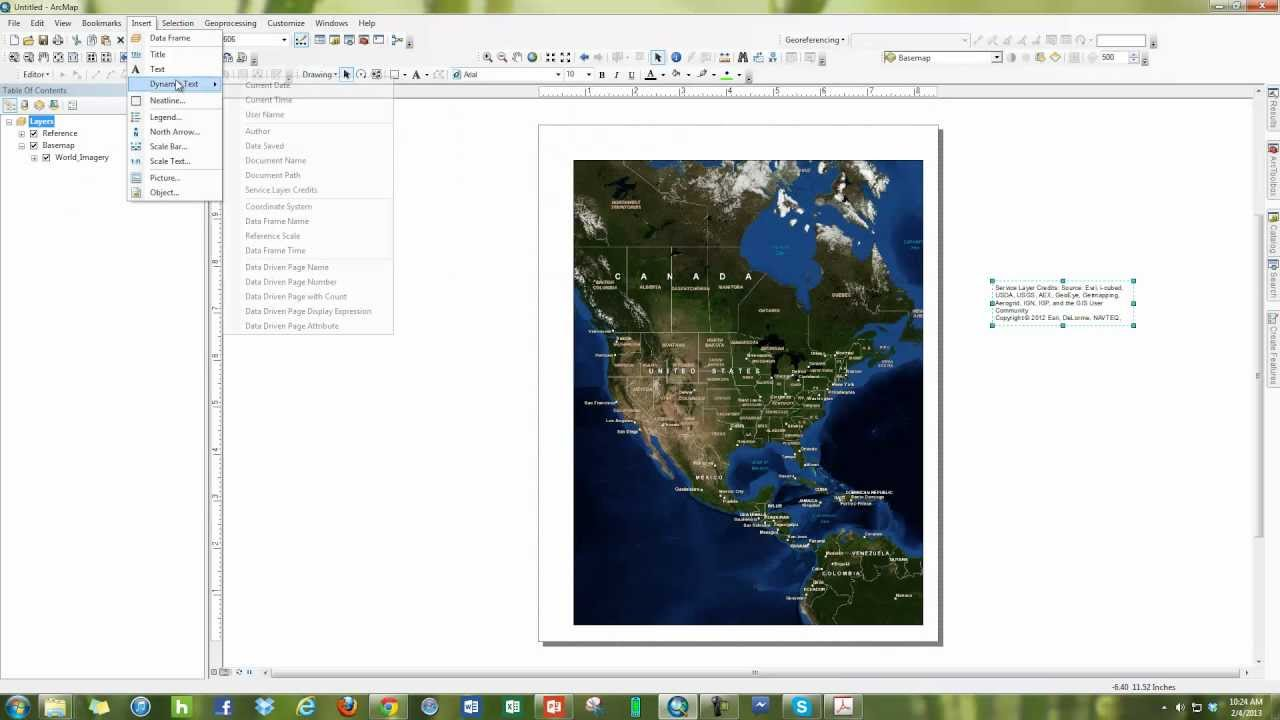 How to remove the Service Layer Credit Text in ArcMap's Layout