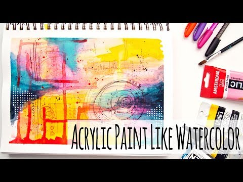Using Acrylic Paint Like Watercolor – Abstract Painting