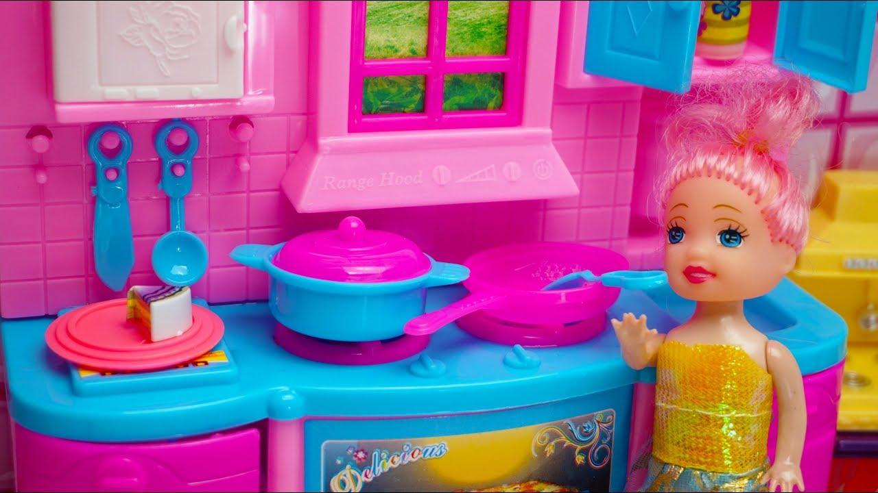 Barbie Kitchen Toys Barbie Masak Masakan Mainan Anak Barbie Doll Toys Brinquedos Boneca Barbie Youtube