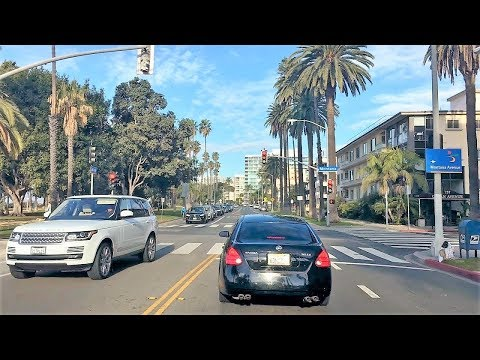Driving Downtown - LA's Ocean Avenue 4K - Santa Monica USA