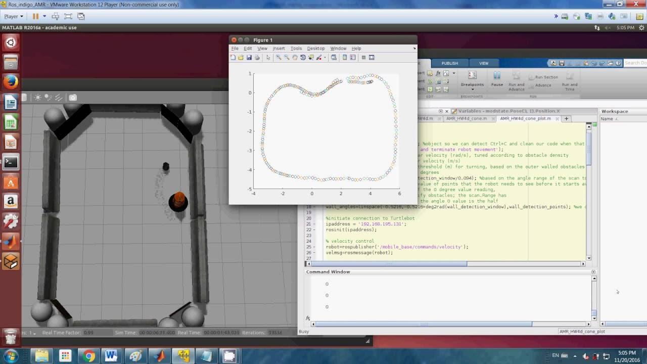 VisibilityGraph Matlab ROS with Gazebo using Turtlebot