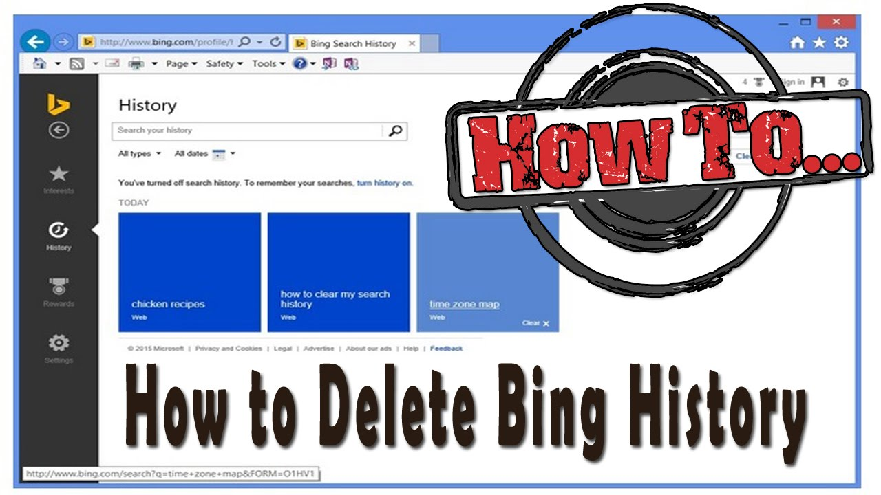 how to delete bing history youtube