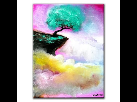 Fantasy Painting - aqua green tree on a rock cliff above clouds by Peter Dranitsin