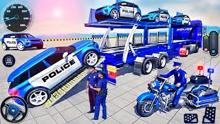 US Police Car Transporter Driving - Police Trailer Truck Driver Simulator 3D - Android GamePlay screenshot 1